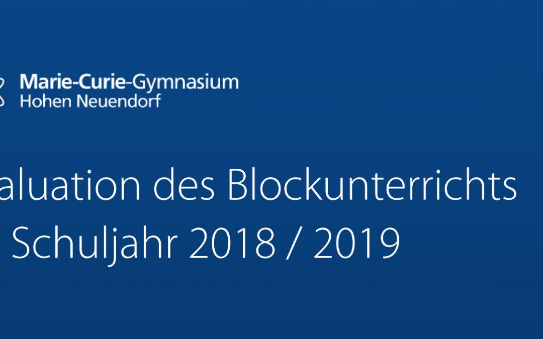 Ergebnisse der Evaluation zum Blockunterricht
